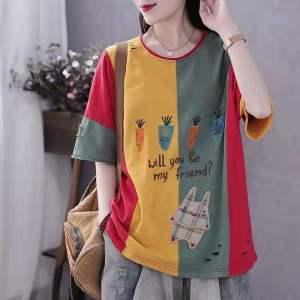 YF44834# 棉拼接棉T恤女破洞短袖T恤女学生韩版宽松百搭上衣 服装批发女装直播货源