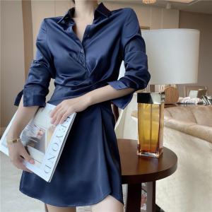 YF71271# 星空蓝色光泽感修身收腰性感包臀长袖衬衫裙衬衣连衣裙女