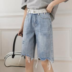 YF47120# 夏季新款百搭显瘦牛仔五分裤破洞休闲撞色五分牛仔裤 服装批发女装直播货源