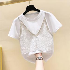 YF45157# 蕾丝拼接假两件钉珠镶钻短袖t恤女夏装新品宽松设计感上衣潮 服装批发女装直播货源