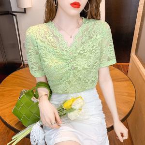 YF46555# 夏季新款v领镂空蕾丝打底衫女修身洋气百搭短袖T恤上衣 服装批发女装直播货源