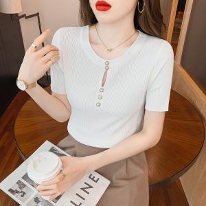 YF46556# 螺纹冰丝体恤女夏新款纯色V领针织衫短袖薄款显瘦开衫打底T恤 服装批发女装直播货源