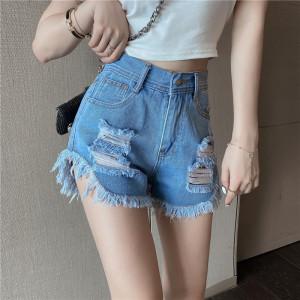 YF46548# 夏季新款韩版磨毛牛仔短款高腰包臀修身破洞热裤女 服装批发女装直播货源