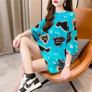 YF50181# 韩国印花短袖t恤女中长款2021夏季新款韩版宽松大版