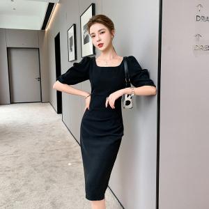 YF44583# 新款女装方领收腰显瘦包臀连衣裙 服装批发女装直播货源