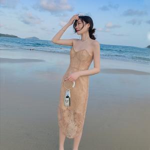 YF44302# 气质优雅性感包臀裙重工蕾丝吊带连衣裙度假裙 服装批发女装直播货源