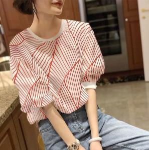 YF44556# 洋气法式泡泡袖上衣女红色竖条纹衬衫衣短袖春夏新款货欧洲站 服装批发女装直播货源