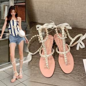 X-25721# 珍珠来了!夏季高筒细带镶珍珠夹趾罗马凉鞋2色35-40码 鞋子批发女鞋货源