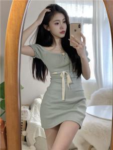 YF44816# 奶绿色显胸显瘦缎带收腰短袖包臀连衣裙 服装批发女装直播货源