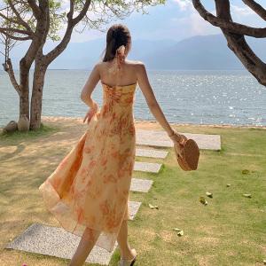 YF64222# 法式复古连衣裙赫本露背挂脖吊带长裙设计感小众雪纺海边度假裙子