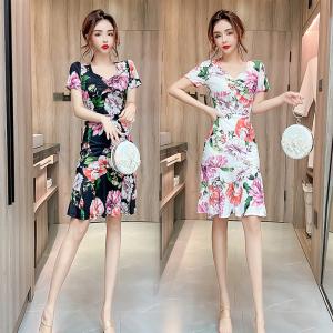 YF47892# 夏季新款女裙子修身显瘦印花裙气质中长款鱼尾包臀连衣裙 服装批发女装直播货源