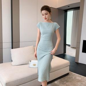YF45159# 一字领波浪连衣裙新款优雅气质女神范 服装批发女装直播货源