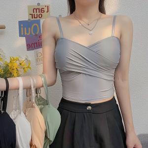 YF46065# 性感小心机吊带内衣女韩版外穿冰丝带胸垫打底抹胸背心 服装批发女装直播货源
