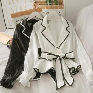 YF50180# 洋气百搭设计感蝴蝶结绑带收腰长袖上衣女秋装条纹双排扣衬衫外套