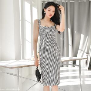 YF47134# 夏装新款韩版性感气质修身中长款吊带包臀千鸟格连衣裙 服装批发女装直播货源