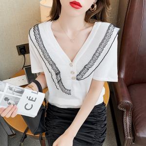 YF46560# 薄款V领冰丝针织衫女夏季新款短袖别致设计感蕾丝花边上衣ins 服装批发女装直播货源