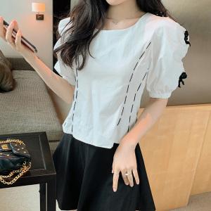 YF46853# 新款法式复古蝴蝶结泡泡短袖衬衫短款显瘦上衣女 服装批发女装直播货源
