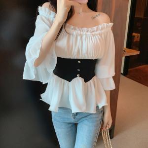 YF46854# 夏季新款衬衫女设计感露肩法式复古雪纺气质上衣 服装批发女装直播货源