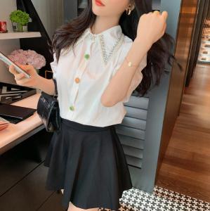 YF46862# 夏季新款设计感小众衬衫女娃娃领镶钻泡泡短袖上衣 服装批发女装直播货源