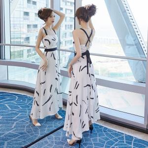 YF46871# 一字肩雪纺吊带连衣裙2021年新款女夏天性感长款显瘦显高气质长裙