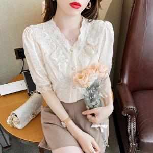 YF46561# 短袖雪纺衬衫女装夏装新款夏季蕾丝短款上衣服收腰小衫洋气 服装批发女装直播货源