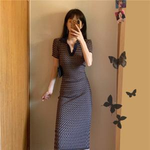 YF62520# 赫本风polo针织轻奢连衣裙小众新款收腰显瘦修身气质长裙女夏
