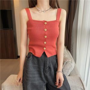 YF62552# 夏季新款韩版chic显瘦短款针织背心排扣小吊带女 服装批发女装直播货源