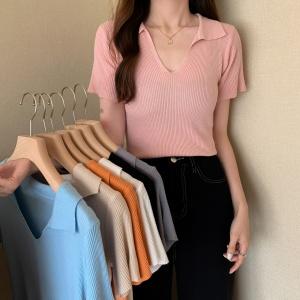 YF49016# 夏季新款翻领短袖V领针织衫显瘦短款上衣女 服装批发女装直播货源