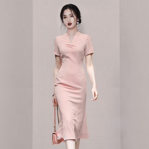 YF55228# 新款女装收腰显瘦V领包臀连衣裙 服装批发女装直播货源