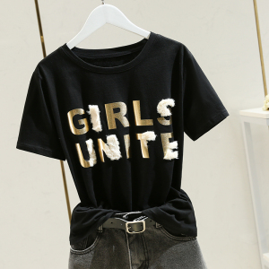 YF53967# 设计感小众t恤女夏季新款韩版圆领短袖气质百搭修身上衣 服装批发女装直播货源