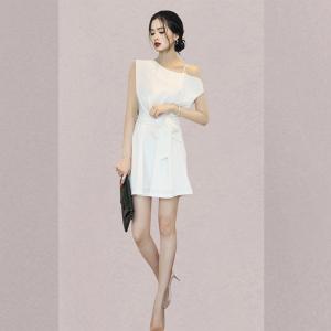 YF59092# 夏季新款女装性感白色收腰显瘦斜肩吊带连衣裙 服装批发女装直播货源