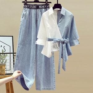 YF57523#  夏装韩版拼接撞色条纹拼接假两件衬衫高腰宽松百搭牛仔裤两件套装