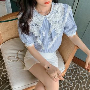 YF46857# 夏法式复古蕾丝娃娃领衬衫女设计感条纹泡泡袖上衣 服装批发女装直播货源