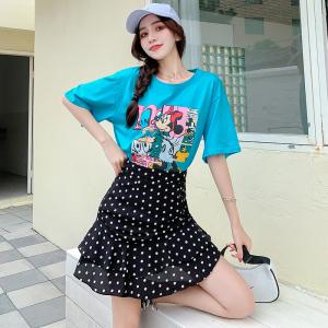YF48106# 时尚韩版套装裙夏季新款卡通印花短袖T恤波点短裙子女两件套 服装批发女装直播货源