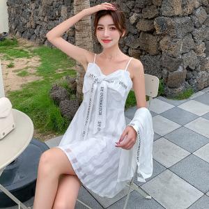 YF48107# 夏季新款蕾丝连衣裙蝴蝶结仙女法式吊带裙子外套衬衫潮两件套 服装批发女装直播货源