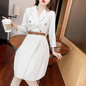 YF46565# 西装连衣裙新款女冷淡风长袖百褶高级感法式设计感小众裙子 服装批发女装直播货源