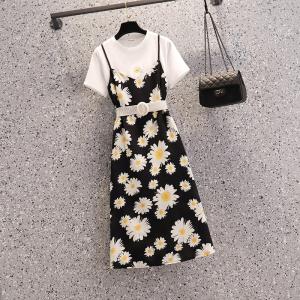 YF48738# 大码女装新款胖MM气质法式小雏菊吊带连衣裙两件套套装配腰带 服装批发女装直播货源