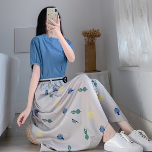 YF46839# 夏季新款大码胖妹妹牛仔上衣显瘦半身裙子两件套装 服装批发女装直播货源