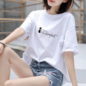 CX6545# 最便宜服装批发 纯棉#白色纯棉短袖T恤女纯色圆领百搭宽松体恤女大码