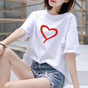 CX6544# 最便宜服装批发 纯棉#白色纯棉短袖T恤女纯色圆领百搭宽松体恤女大码