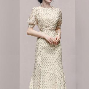 YF55229# 新款女装时尚优雅镂空显瘦鱼尾提花雪纺印花绑带连衣裙 服装批发女装直播货源