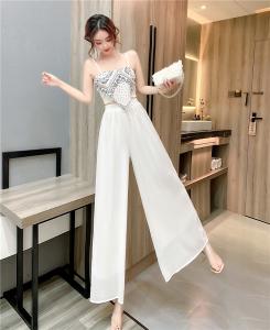 YF47895# 性感吊带背心短上衣+时尚阔腿裤长裤两件套装 服装批发女装直播货源