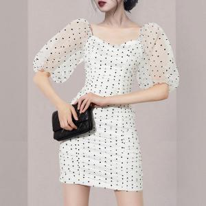 YF55230# 新款女装波点时尚网纱包臀连衣裙 服装批发女装直播货源
