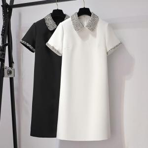 YF47601# 白色娃娃领连衣裙夏季新款女装时尚搭配宽松重工钉珠小香风
