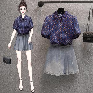 YF57924# 大码女装夏装新款遮肉减龄衬衫显瘦胖妹妹两件套装牛仔裙 服装批发女装直播货源