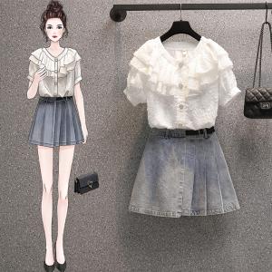 YF57925# 大码女装夏季新款胖妹妹衬衫洋气减龄显瘦两件套装连衣裙 服装批发女装直播货源