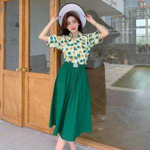 YF48108# 新款绿色半身裙女夏季高腰两件套长款复古a字裙短袖上衣套装 服装批发女装直播货源