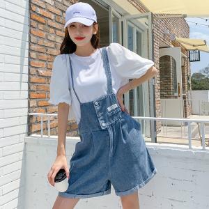 YF48111# 时尚韩版套装夏季新款洋气减龄显瘦上衣牛仔背带裤子两件套 服装批发女装直播货源