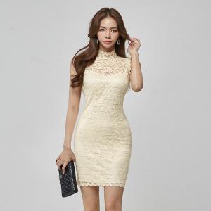 YF47137# 夏季新款气质显瘦蕾丝高领无袖连衣裙包臀裙女 服装批发女装直播货源