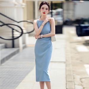 YF48404# 法式吊带连衣裙新款夏季轻奢一字肩高级设计感小众裙子女 服装批发女装直播货源